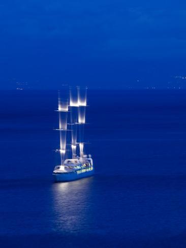 Evening View of Moving Three Masted Cruise Ship, Amalfi, Campania, Italy Photographic Print