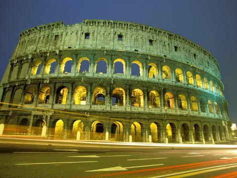 Evening View of The Colosseum, Rome, Italy Photographic Print