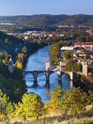 France, Midi-Pyrenees Region, Lot Department, Cahors, Pont Valentre, Midieval Bridge, Lot River Photographic Print