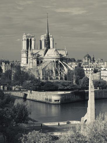 France, Paris,Cathedrale Notre Dame and the Pont De La Tournelle Bridge Photographic Print