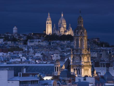 France, Paris, Sacre Coeur and Trinite D' Estienne D' Orves Church Photographic Print