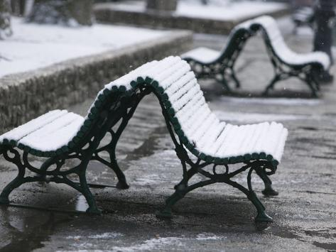 Isere Grenoble, Place Victor Hugo, Snow on Benches Photographic Print