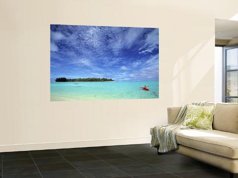 Kayaker, Muri Beach, Rarotonga, Cook Islands Giant Art Print