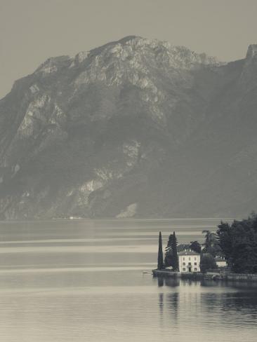 Lombardy, Lakes Region, Lake Como-Lake Lecco, Oliveto, Villa and Mountains, Italy Photographic Print