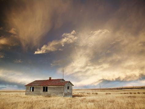 Lone Building, Cardston, Alberta, Canada Photographic Print