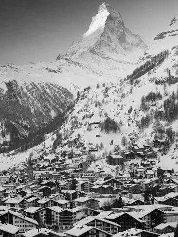 Morning Town View with Matterhorn, Zermatt, Valais, Wallis, Switzerland Photographic Print
