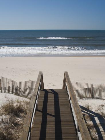 New York, Long Island, the Hamptons, Westhampton Beach, Beach View from Beach Stairs, USA Photographic Print