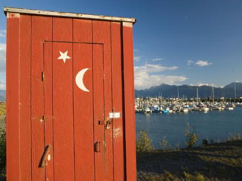 Outhouse and Boat Harbor, Homer, Kenai Peninsula, Alaska, USA Photographic Print