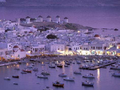 Overview of Mykonos Town harbor, Mykonos, Cyclades Islands, Greece Photographic Print