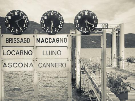 Piedmont, Lake Maggiore, Cannobio, Lake Ferry Timetable, Italy Photographic Print
