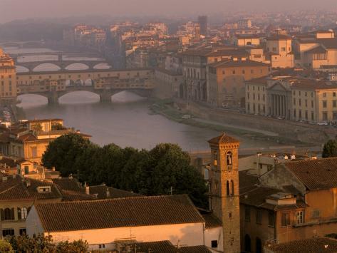 Ponte Vecchio Bridge, Arno River, Piazza Michelangelo, Florence, Tuscany, Italy Photographic Print