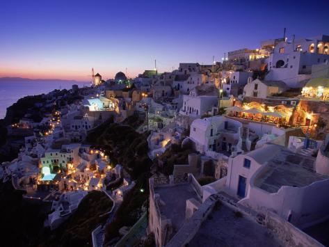 Santorini at Night, Greece Photographic Print