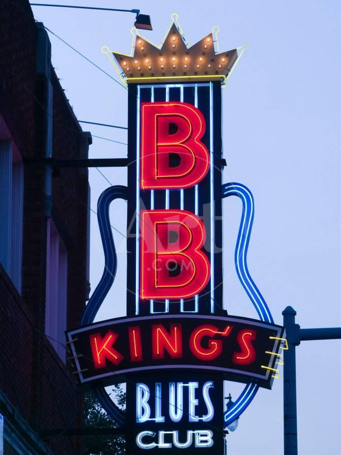 Signs for BB King's Club, Beale Street Entertainment Area, Memphis,  Tennessee, USA