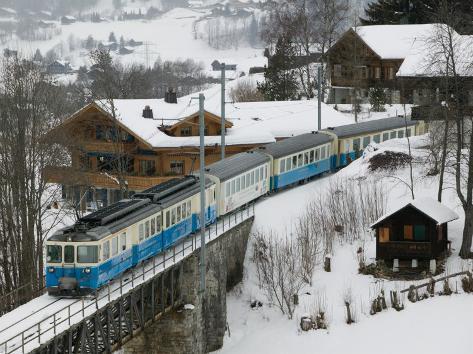 Ski Train, Gstaad, Bern, Switzerland Photographic Print