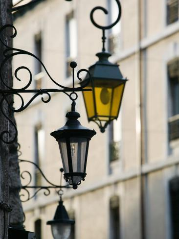 street lamps in old town annecy french alps savoie chambery france photographic print by. Black Bedroom Furniture Sets. Home Design Ideas