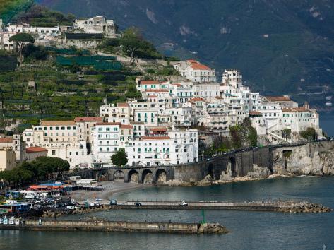 Town View with Harbor, Amalfi, Amalfi Coast, Campania, Italy Photographic Print