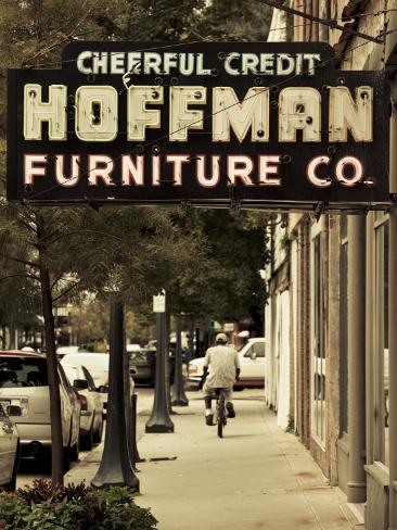 USA, Alabama, Mobile, Dauphin Street, Old Neon Sign for Hoffman Furniture Photographic Print