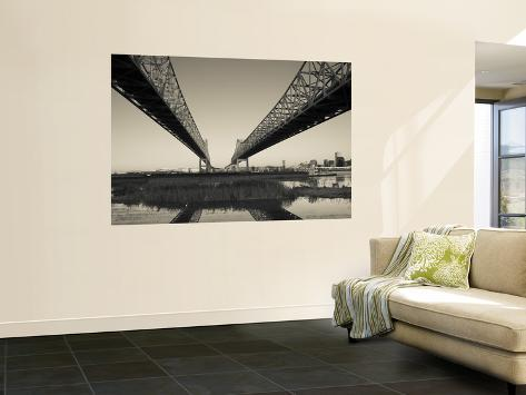 USA, Louisiana, New Orleans, Greater New Orleans Bridge and Mississippi River Wall Mural