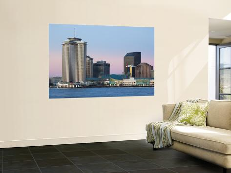 USA, Louisiana, New Orleans, World Trade Center and the Mississippi River Wall Mural