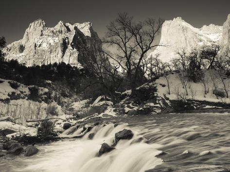 Utah, Zion National Park, Mountain Sunrise by the North Fork Virgin River, Winter, USA Photographic Print