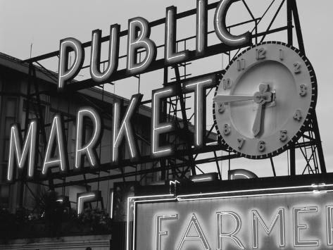 View of Public Market Neon Sign and Pike Place Market, Seattle, Washington, USA Photographic Print