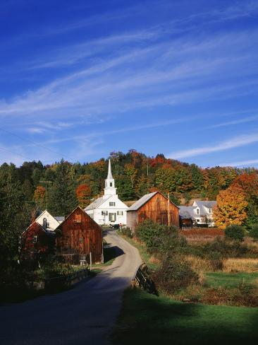 Waits River, View of Church and Barn in Autumn, Northeast Kingdom, Vermont, USA Photographic Print