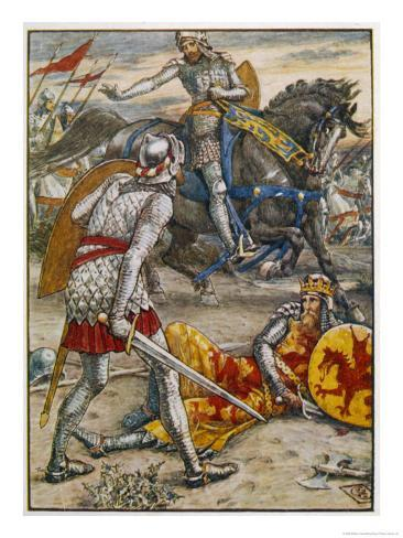 Sir Lancelot Prevents Sir Bors from Slaying King Arthur Impressão giclée
