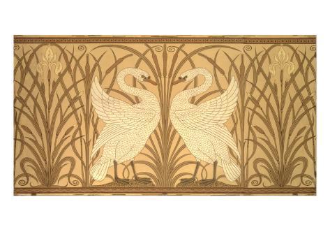 Swan Wallpaper Design Giclee Print