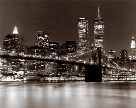 Over the Brooklyn Bridge at Night Art Print
