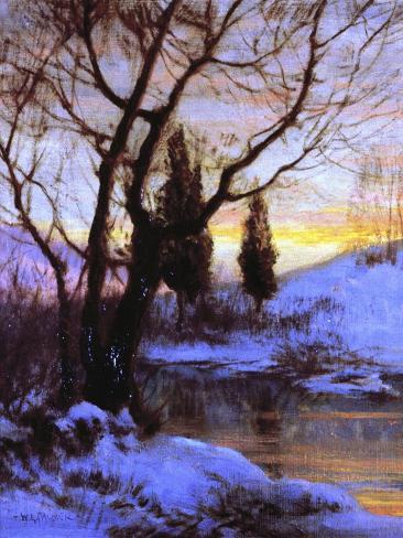 Pôr-do-sol no Inverno Impressão giclée