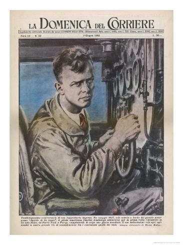 Charles Augustus Lindbergh in the Cockpit of His Monoplane Spirit of St. Louis Giclee Print