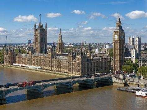 Buses Crossing Westminster Bridge by Houses of Parliament, London, England, United Kingdom, Europe Photographic Print