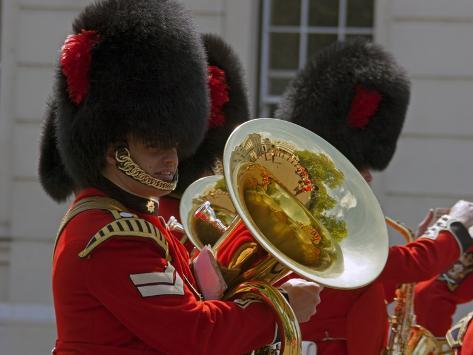 Coldstream Guards Band Practise at Wellington Barracks, Reflected in Brass Tuba, London, England Photographic Print