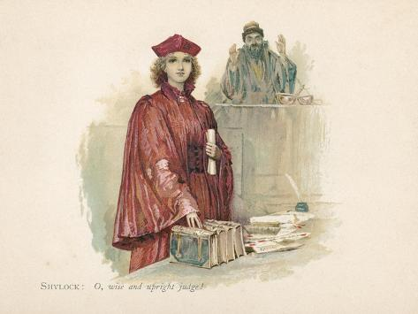 Portia and Shylock in the Merchant of Venice Giclee Print