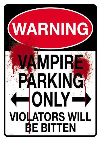 Warning Vampire Parking Tin Sign
