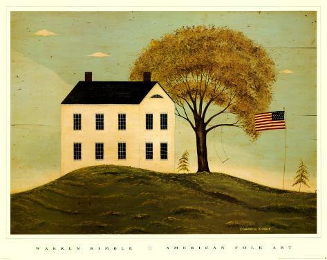 House with Flag Art Print