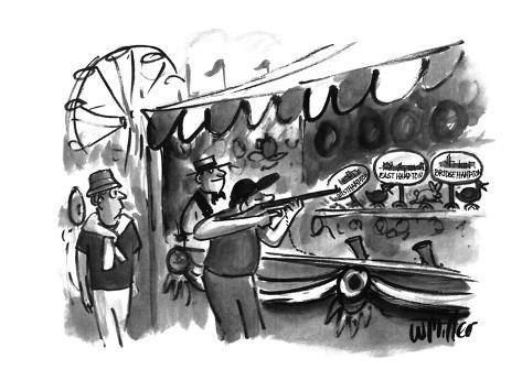 The guy shooting various targets at a booth in a carnival - New Yorker Cartoon Premium-giclée-vedos