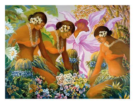 Hawaiian Hula, Women with Tropical Flowers Giclee Print
