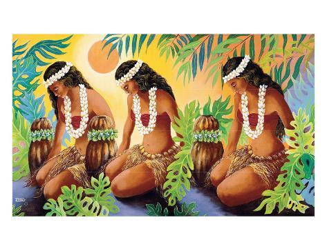 The Sun at the Source of Life, Hawaiian Hula Girls Gicléetryck