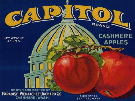 Warshaw Collection of Business Americana Food; Fruit Crate Labels, Paradise-Wenatchee Orchard Co. Taidevedos