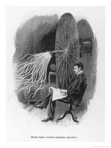 Nikola Tesla Serbian Inventor Seated Beside His Wireless Telegraphy Apparatus Giclee Print