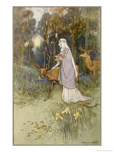 Woman Walking Through the Woods with a Timid Dun Deer Giclee Print