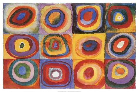 Kvadratisk färgstudie, ca 1913|Farbstudie Quadrate, ca1913 Print på trä