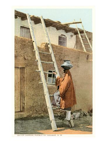 Water Carrier in Tesuque Pueblo, New Mexico Art Print