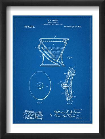 Water Closet Patent Framed Art Print