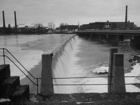 Water Flowing over Power Dam on the Merrimack River Photographic Print