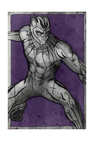 Watercolor Black Panther Art Print