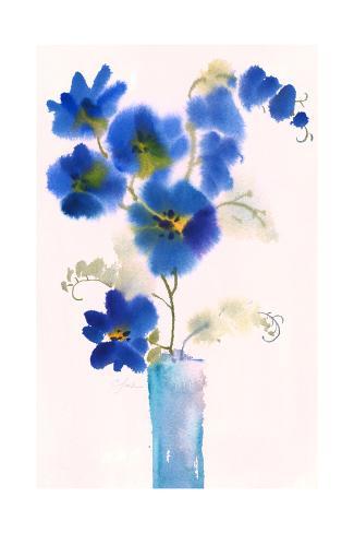 Watercolor of Blue Flowers in Vase Art Print