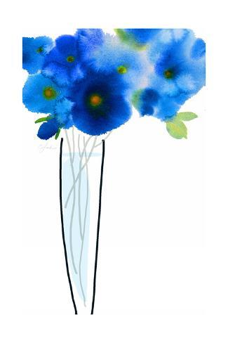 Watercolor of Blue Flowers with Long Stems in Vase Art Print