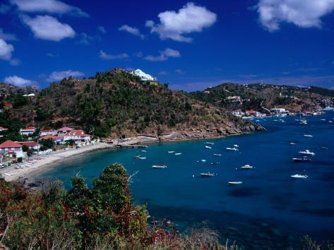 Boats in Bay, Corrossol Bay, St. Barts Photographic Print
